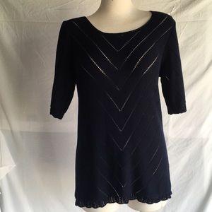 J crew crochet style blue cotton top Sz M